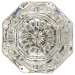 Octagonal Glass Door Knob Set in Brass