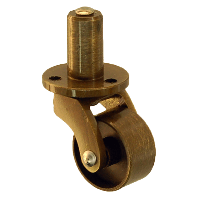 - Small Antique Brass Furniture Caster With Plate