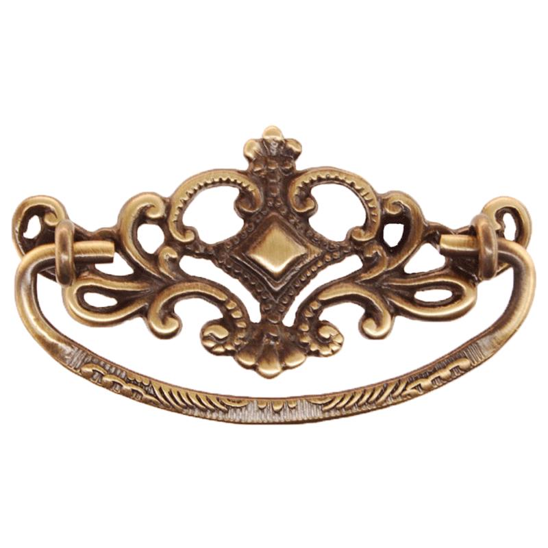 Antique Finish Victorian Cast Brass Drawer Pull