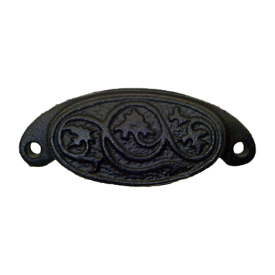 Oval Cast Iron Furniture & Cabinet Bin Pull