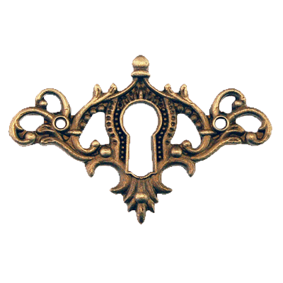 Fancy Cast Antique Brass Keyhole Escutcheon