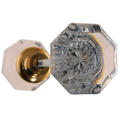 Octagonal Glass Door Knob in Brass with Spindle