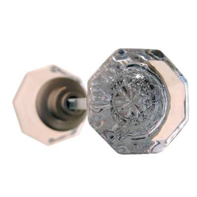 Octagonal Glass Door Knob In Brushed Nickel With Spindle