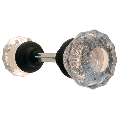 Fluted Glass Door Knob In Oil Rubbed Bronze With Spindle