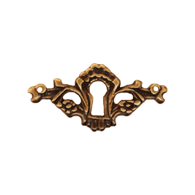 Decorative Antique Finish Cast Brass Keyhole Escutcheon
