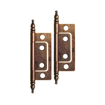 Non Mortise Small Steeple Tipped Hinge In Antique Copper
