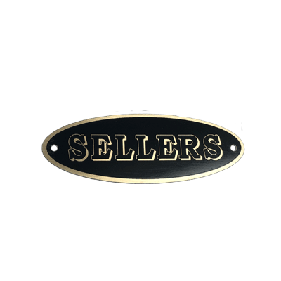 Sellers Cabinet Oval Label - Elwood, IN