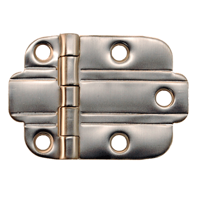 Brushed Nickel Art Deco Flush Hinge Pair