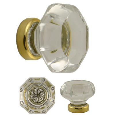 Octagonal Clear Glass Knob With Brass Base