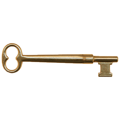 Solid Brass Architectural Skeleton Key With Double Notched Bit