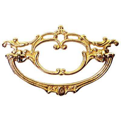 Fancy Open Victorian Cast Brass Drawer Pull