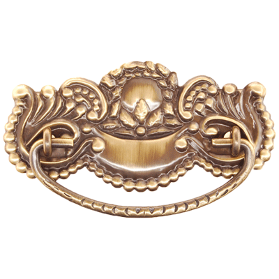 Antiqued Fancy Victorian Stamped Brass Drawer Pull