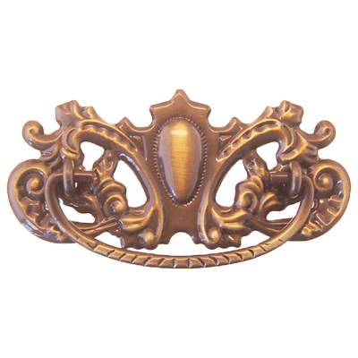 Ornate Victorian Antique Brass Drawer Pull