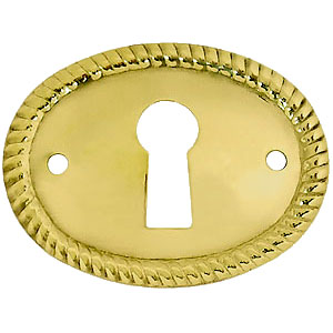 Horizontal Stamped Oval Brass Keyhole Cover