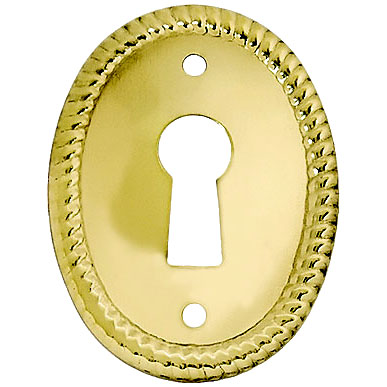 Vertical Rope Pattern Stamped Oval Brass Keyhole Cover