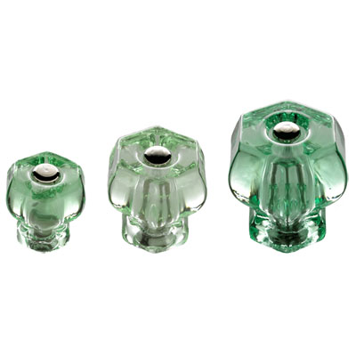 Depression Green Glass Hexagonal Knobs