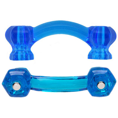 Hexagonal Peacock Blue Glass Bridge Drawer Pull