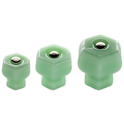 Jadite Green Milk Glass Hexagonal Knobs