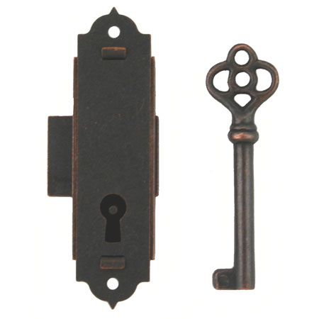 Antiqued Narrow Door or Case Lock