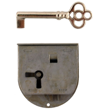 Long Rounded Half Mortise Lock & Skeleton Key
