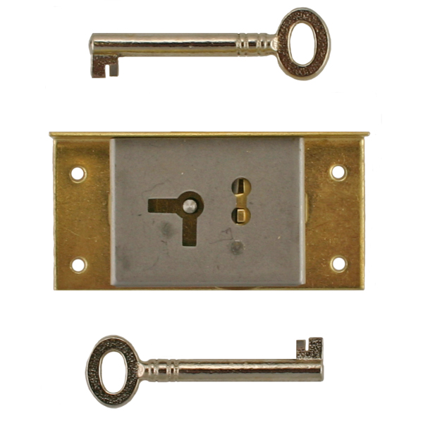 Right Brass Half Mortise Lock with Skeleton Keys