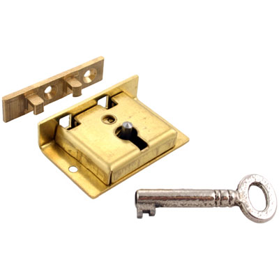 Small Brass Half Mortise Chest Lock with Skeleton Key