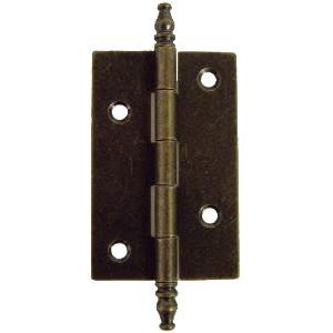Antiqued Brass Butt Hinge Pair with Finials