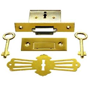 Brass Roll Top Desk Lock & Skeleton Keys