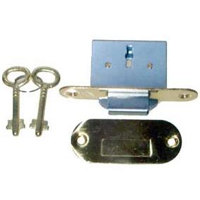 Brass Round Roll Top Desk Lock & Skeleton Keys