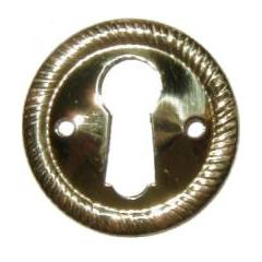 Round Stamped Brass Keyhole Escutcheon