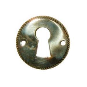 Plain Round Stamped Brass Keyhole Escutcheon