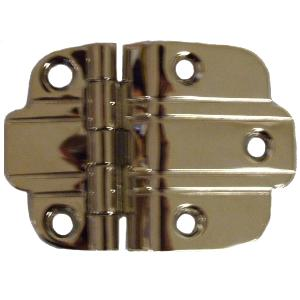 Nickel Art Deco Offset Hinge Pair