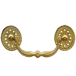 Period Brass Bail Pull with Pierced Oval Rosettes