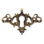 Fancy Cast Antique Brass Keyhole Escutcheon