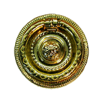 Small Round Colonial Revival Brass Ring Pull
