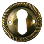 Aged Brass Rope Pattern Keyhole Escutcheon
