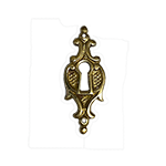 Vertical Cast Brass Victorian Keyhole Cover