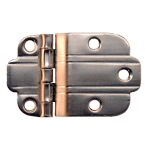 Brushed Nickel Art Deco Offset Hinge Pair