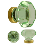 Octagonal Pale Green Glass Knob With Brass Base
