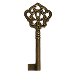 Large Fancy Solid Brass Hand Aged Skeleton Key