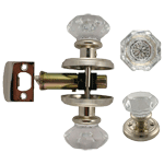 Octagonal Glass Doorknob and Latch Set in Nickel