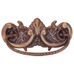 Antiqued Victorian Stamped Brass Drawer Pull