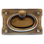 Small Antique Brass Horizontal Mission Drawer Pull