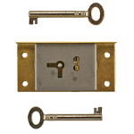 Small Right Brass Half Mortise Lock with Skeleton Keys