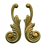 Oak Wood Embossed Applique Pair