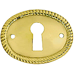 Horizontal Rope Pattern Stamped Oval Brass Keyhole Cover