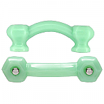 Hexagonal Milk Green Jadite Glass Bridge Drawer Pull