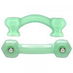 Hexagonal Milk Green Jadite Glass Bridge Drawer Pull