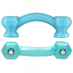 Hexagonal Milk Blue Delphite Glass Bridge Drawer Pull