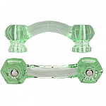 Hexagonal Depression Green Glass Bridge Drawer Pull